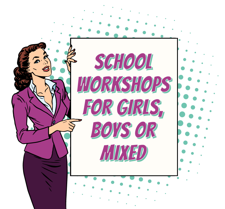 Woman holding a sign that reads 'School Workshops for Girls, Boys, or Mixed'